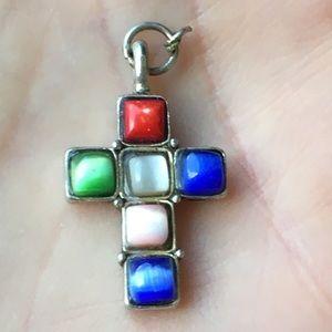 Vintage multi gemstone cross pendant